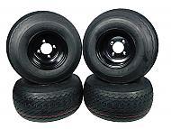 MASSFX Wheel Tire Combo 18x8.5-8 Golf Cart Tire Black 4/4 Rim 4-PACK