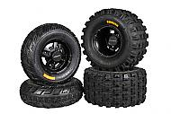 Ambush 21x7-10 20x10-9 Tires w MASSFX Black Rims 10x5 4/144 9x8 4/110 Wheels