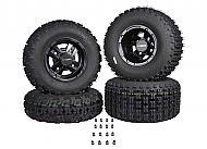 MASSFX 21x7-10 Front 20x10-9 Rear Tires w Black Rims 10x5 4/156 9x8 4/115 Wheels