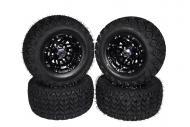"""MASSFX 20"""" Golf Cart Tire Gloss Black Wheel 20x10-10 Tire 10x7 4/4 Rim 4 PACK"""