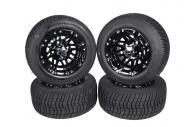 MASSFX Golf Cart Tire Gloss Black Wheel 205/50-10 Tire 10x7 4/4 Rim 4 PACK