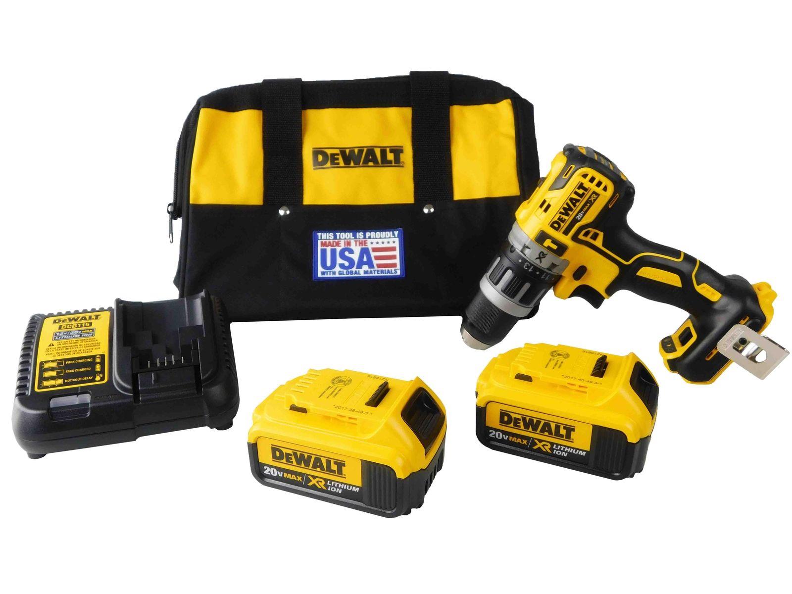 Dewalt-20V-DCD796B-Hammer-Drill-DCB204-4-Ah-Battery-DCB115-Battery-Charger-Bag-image-1